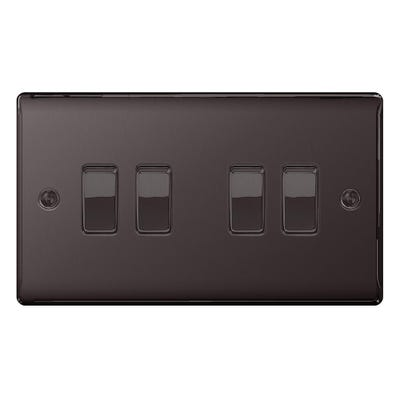 BG Nexus 10A 10AX 4 Gang 2 Way Light Switch Black Nickel NBN44-01