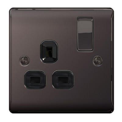 BG Nexus 13A 1 Gang Double Pole Socket Outlet Black Nickel with Black Insert NBN21B-01