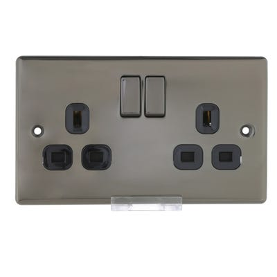 BG Nexus 13A 2 Gang Double Pole Socket Outlet Black Nickel with Black Insert NBN22B-01