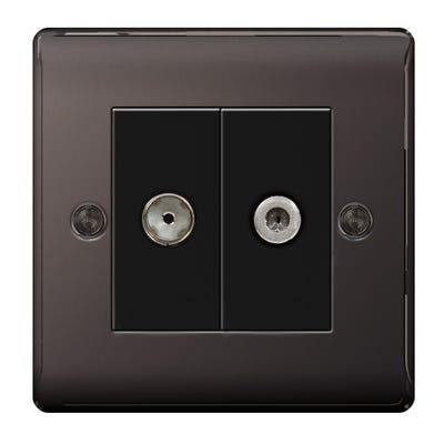 BG Nexus 2 Gang Satellite & Co-Axial Socket Black Nickel with Black Insert NBN65-01