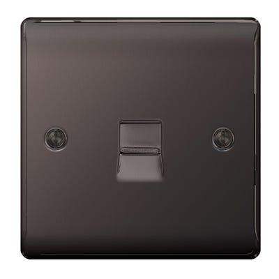 BG Nexus 1 Gang Telephone Slave Socket Black Nickel NBNBTS1-01