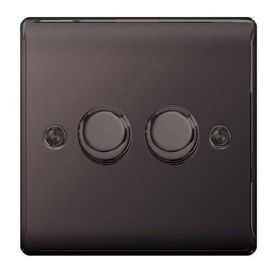 BG Nexus 400W 2 Gang 2 Way Dimmer Light Switch Push Black Nickel NBN82P-01