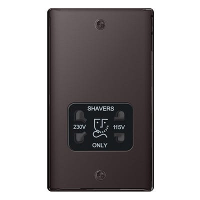 BG Nexus 115/230V Dual Voltage Shaver Socket Black Nickel with Black Insert NBN20B-01