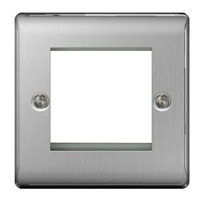 BG Nexus Twin Module Euro Plate Brushed Steel NBSEMS2-01