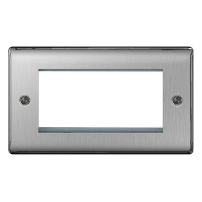 BG Nexus 4 Module Euro Plate Rectangular Brushed Steel NBSEMR4-01