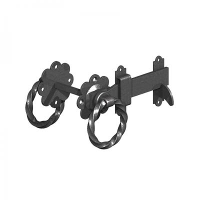 Twisted Ring Gate Latches 150mm Black