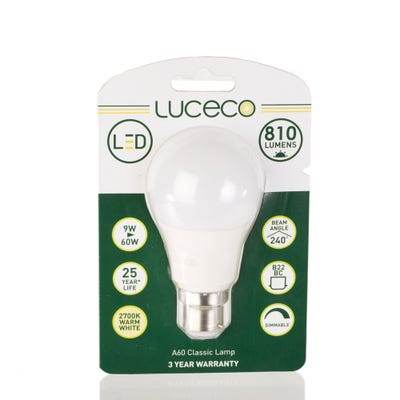 Luceco 9W LED GLS Lamp B22 Dimmable LAD22W9W81
