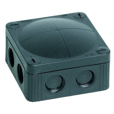 Wiska Junction Box IP66/IP67 Black with 5 Pole Terminal Block & Earthing Clamps 85 x 85 x 51mm