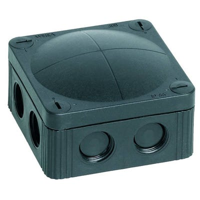Wiska Junction Box IP66/IP67 Black with 5 Pole Terminal Block 85 x 85 x 51mm (COMBI 308/5/S)