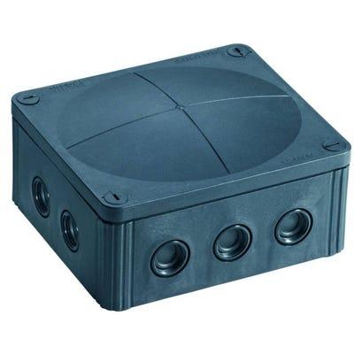 Wiska Junction Box IP66/IP67 Black with 5 Pole Terminal Block 160 x 140 x 81mm (COMBI 1210/5/S)