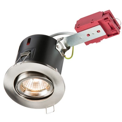 Knightsbridge Tilt GU10 IC Fire Rated Downlight Brushed Chrome VFRSGICBR