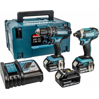 Makita DLX2131JX1 18V Combi Drill & Impact Driver + 3 x 3.0Ah Batteries