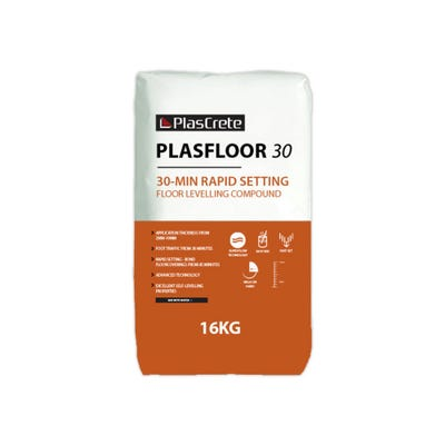 PlasCrete Plasfloor 30 Rapid Set Latex Floor Levelling Compound 16kg