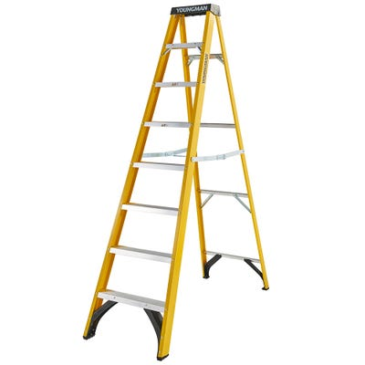 Youngman 8 Tread Heavy Duty Glass Fibre Trade Step Ladder