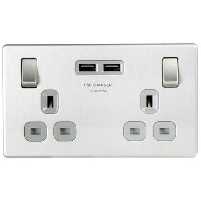 BG Nexus Screwless 13A 2 Gang Switched Socket With 3.1A USB Chargers Brushed Steel With Grey Insert FBS22U3G-01