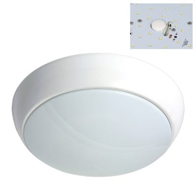 Polo IP54 15W LED Bulkhead With Microwave Sensor & White Bezel Daylight
