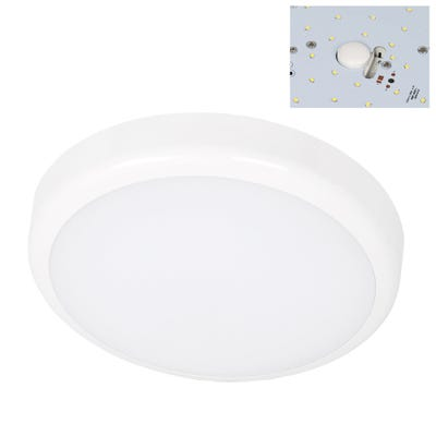 Lucent IP54 15W LED Bulkhead With Microwave Sensor & White Bezel Daylight