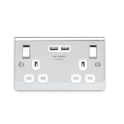 BG Nexus 13A 2 Gang Switched Socket with 3.1A USB Chargers Polished Chrome with White Insert NPC22U3W-01