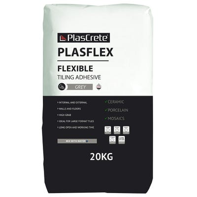 PlasCrete Plasflex Grey Flexible Powder Tile Adhesive 20Kg