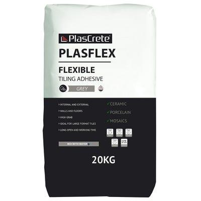 PlasCrete Plasflex Grey Flexible Powder Tile Adhesive 20Kg