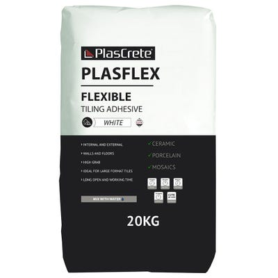 PlasCrete Plasflex White Flexible Powder Tile Adhesive 20Kg