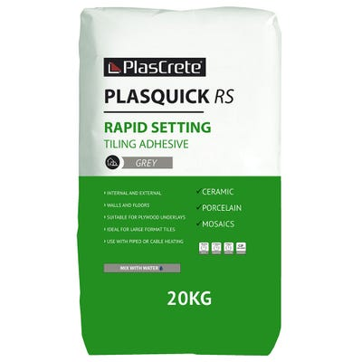PlasCrete Plasquick Grey RS Fast Set Powder Tile Adhesive 20Kg