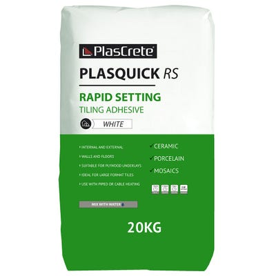 PlasCrete Plasquick White RS Fast Set Powder Tile Adhesive 20Kg