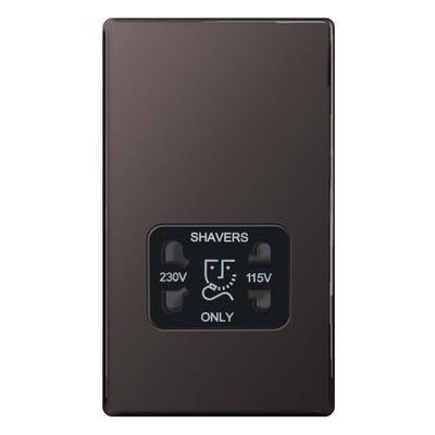 BG Nexus Screwless Flatplate 115V-230V Dual Voltage Shaver Socket Black Nickel FBN20B-01