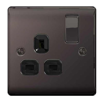 BG Nexus Screwless Flatplate 13A 1 Gang Double Pole Switched Socket Black Nickel FBN21B-01