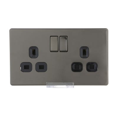 BG Nexus Screwless Flatplate 13A 2 Gang Double Pole Switched Socket Black Nickel FBN22B-01