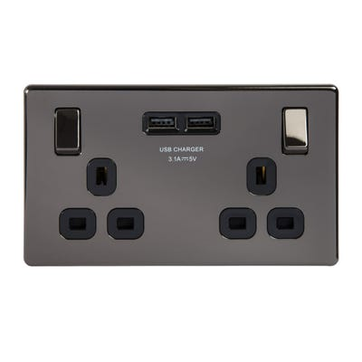 BG Nexus Screwless Flatplate 13A 2 Gang Single Pole Switched Socket with 2 X 3.1A USB Chargers Black Nickel FBN22U3B-01