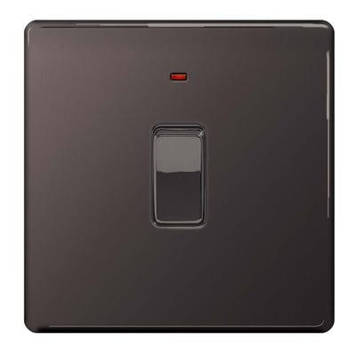 BG Nexus Screwless Flatplate 20A Double Pole Switch with Neon Black Nickel FBN31-01