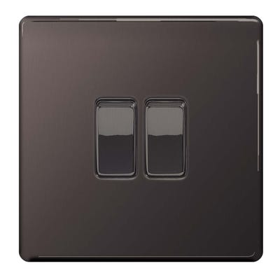 BG Nexus Screwless Flatplate 10A 2 Gang 2 Way Light Switch Black Nickel FBN42-01