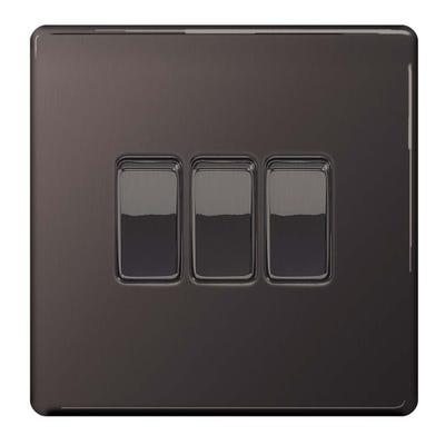 BG Nexus Screwless Flatplate 10A 3 Gang 2 Way Light Switch Black Nickel FBN43-01
