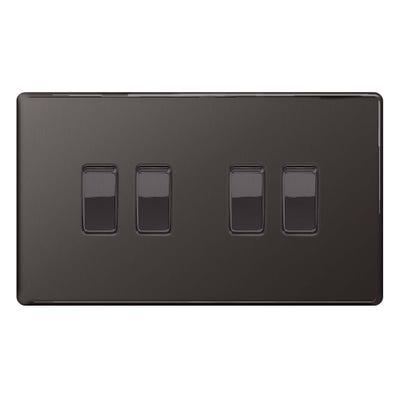 BG Nexus Screwless Flatplate 10A 4 Gang 2 Way Light Switch Black Nickel FBN44-01