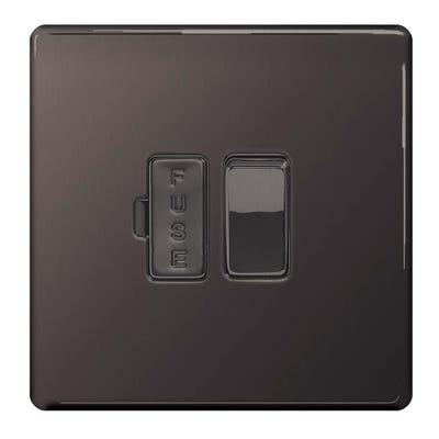 BG Nexus Screwless Flatplate 13A Switched Fused Spur Black Nickel FBN50-01