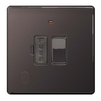 BG Nexus Screwless Flatplate 13A Switched Fused Spur with Neon and Cable Outlet Black Nickel FBN53-01