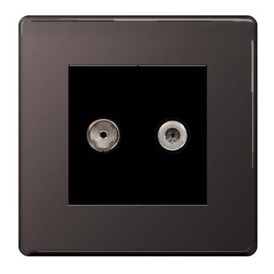 BG Nexus Screwless Flatplate 2 Gang Satellite & Co-Axial Socket Black Nickel FBN65-01