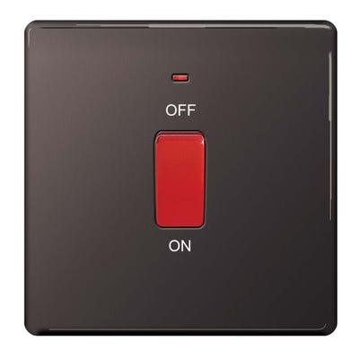 BG Nexus Screwless Flatplate 45A 1 Gang Double Pole Switch with Neon Black Nickel FBN74-01