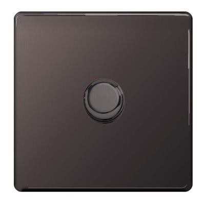 BG Nexus Screwless Flatplate 1 Gang 2 Way 400W LED Dimmer Switch Black Nickel FBN81P-01
