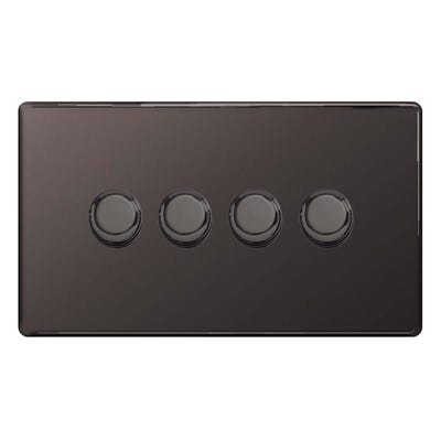 BG Nexus Screwless Flatplate 4 Gang 2 Way 400W LED Dimmer Switch Black Nickel FBN84P-01