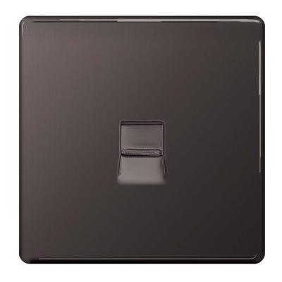 BG Nexus Screwless Flatplate Slave Telephone Socket Black Nickel FBNBTS1-01
