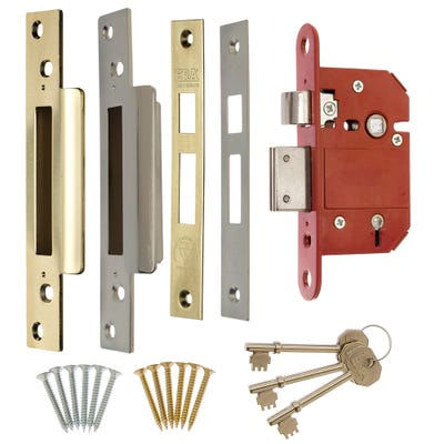 ERA BS 5 Lever Fortress Deadlock 64mm Brass & Chrome