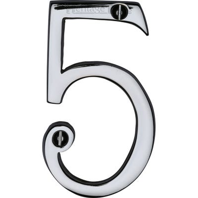 Heritage Brass Number Five in Polished Chrome
