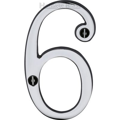 Heritage Brass Number Six in Polished Chrome