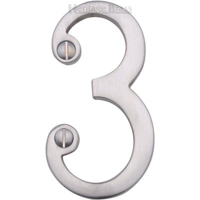 Heritage Brass Number Three in Satin Chrome