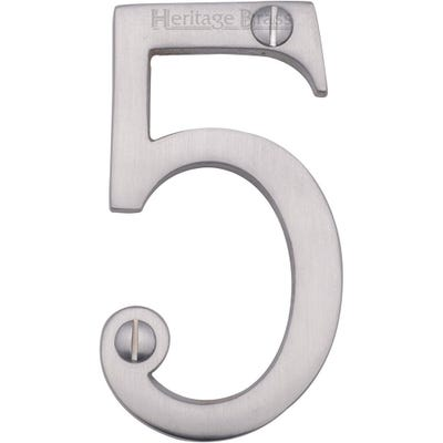 Heritage Brass Number Five in Satin Chrome