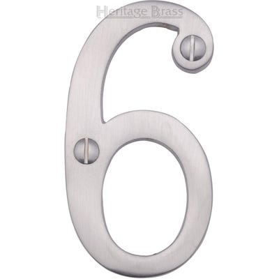 Heritage Brass Number Six in Satin Chrome