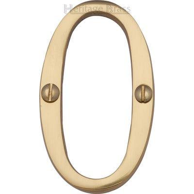 Heritage Brass Number Zero in Polished Brass
