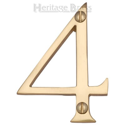 Heritage Brass Number Four in Polished Brass